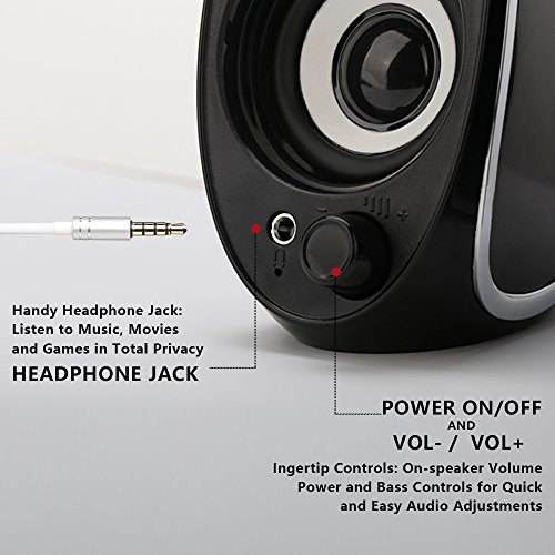 TuparGo DX18 USB Powered Computer Speakers with Headphone Jack,10W Peak Power Apply To Any 3.5mm Port-Equipped Media Players(Black) by TuparGo (Image #1)