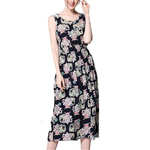 WuyiMC Bohemian Elegant Sleeveless Round Neck Evening Party Dress 2017 (S, Black)