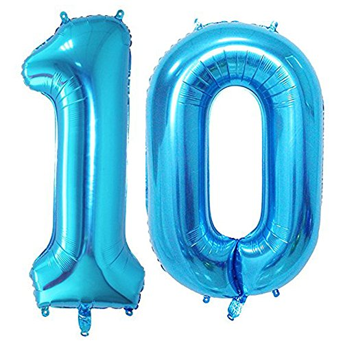 Blue Number 10 Balloon,40