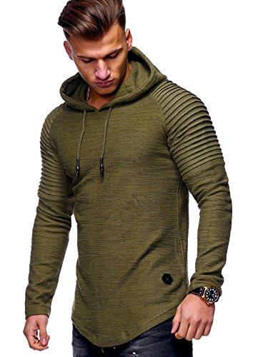 Behype Men's Sweater Jumper Hoodie Sweatshirt Pullover Longsleeve Tops MT-7421 (Khaki,M)
