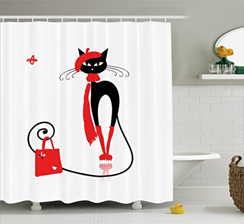 Ambesonne Cat Lover Decor Collection, Stylish Female Cat in Fashion Party Clothes with Shopping Bag Hat Scarf Handbag, Polyester Fabric Bathroom Shower Curtain, 84 Inches Extra Long, Black Red White