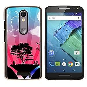 YiPhone /// Prima de resorte delgada de la cubierta del caso de Shell Armor - Corazón Pareja Árbol de amor del cielo Naturaleza Romance - Motorola Moto X3 3rd Generation