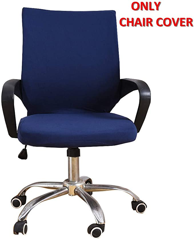 Deisy Dee Universal Computer Office Rotating Stretch Polyester Mid Back Function Chair Cover C111 (light navy)