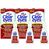 Clear Eyes Maximum Redness Relief Eye Drops | Also Relieves Drying, Burning & Irritations | 0.5 Ounce per Box | 3 Boxes Total