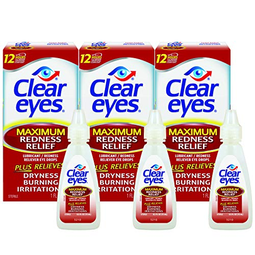 Clear Eyes Maximum Redness Relief Eye Drops | Relieves Drying, Burning & Irritations | 0.5 Ounce per Box | 3 Boxes (Eye Irritation Relief)