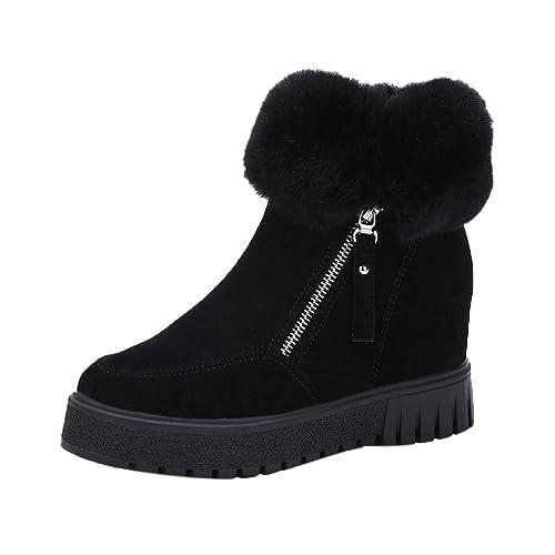 Botines Planos de Cuña Para Mujer Zapatos Plataforma Negro Negro Por ESAILQ F: Amazon.es: Zapatos y complementos