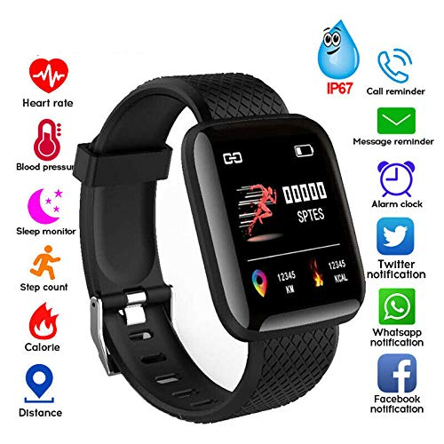 Smart Watch Fitness Tracker Heart Rate Monitor Step Calorie Counter Sleep Monitor for Boy Girl Adult Birthday Gift Black