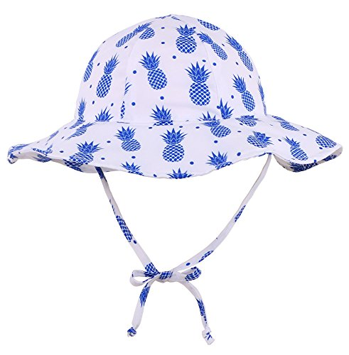 Livingston Girls Sun Protection Wide Brim Safari Bucket Hat, Pineapple, 0-12 M