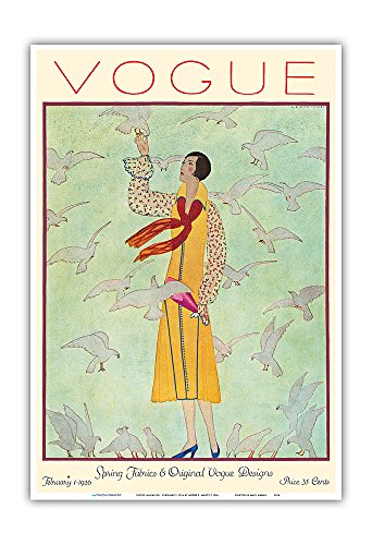 Vogue Magazine - February 1, 1926 - Lady Feeding Flock of Birds - Vintage Magazine Cover by André E. Marty c.1926 - Master Art Print - 13in x 19in Art Poster Magazine Cover