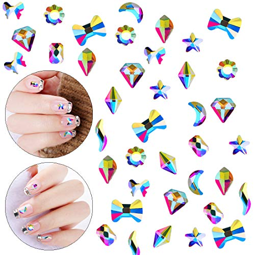 (100pcs Ultra Sparkle&Shine AB Crystal Bead 10 Mixed Sizes Moon Star Butterfly Gold FlatBack Rhinestones Gems Pearls for 3D Nail Art Beauty Design DIY Crafts-LONG LASTING AB SHINE Like Swarovski(Pack2))