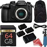 Panasonic LUMIX GH5 20.3MP 4K Mirrorless Digital Camera Body + 64GB Triple Battery ULTIMATE Deluxe Bundle