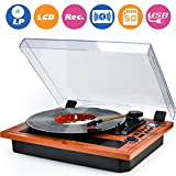 WOCKODER LP 3-Speed Bluetooth LED Turntable with Built-in Stereo Speakers,Vintage Style Record Player, Vinyl-To-MP3/USB/SD Recording, Natural Wood