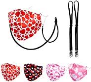4 Packs Luxury Satin Silk Face Mask for Women, with 2 Pieces Mask Lanyard Free, 3 Layers 3D Shape Ergonomicall