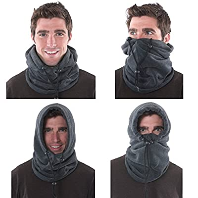 4-in-1 Gaiter, Hood, Balaclava Face Mask, Neck Warmer with Insulated Fleece for the Winter, Unisex Mens Womens Kids - Sports Outdoor Mask - Winter Sports like Skii and Snowboard Mask