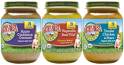 Earths Best Organic Stage 3 Baby Food, Junior Best Sellers, 6 Ounce Jars, Pack of 12