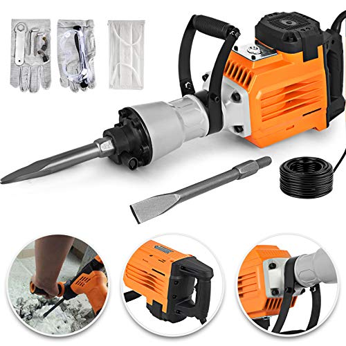 Mophorn 3600W Electric Demolition Hammer Heavy Duty Concrete Breaker 1400 RPM Jack Hammer Demolition Drills with Flat Chisel Bull Point Chisel (3600 W) from Mophorn