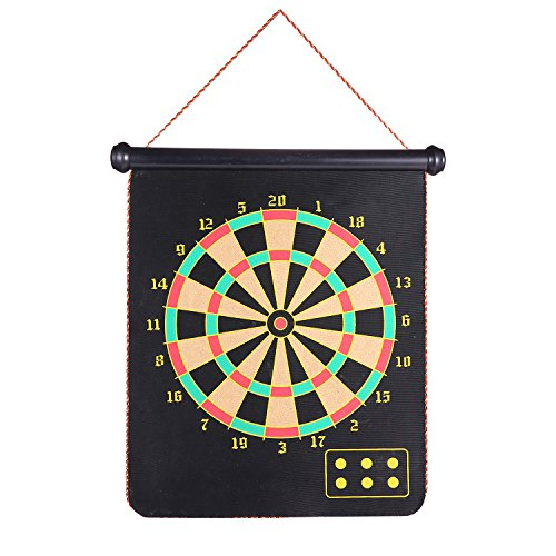 Roll-up Magnetic Dart Board, Rabosky Fabric Double Sided Hanging Rubber DartBoard with 10PCS Replacement Dart-Tip
