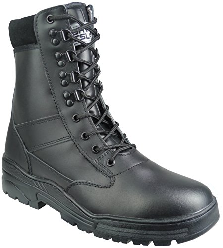 Savage Island Black Full Leather Side Zip Army Combat Patrol Boots Tactical...