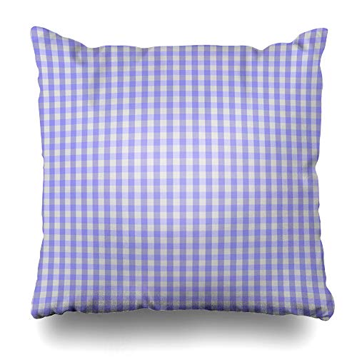 "Ahawoso Throw Pillow Cover Checkered Light Purple Gingham That White Checks Flat Lilac Mauve Design Pastel Home Decor Cushion Case Square Size 18""x18"" Inch Decorative Pillowcase"