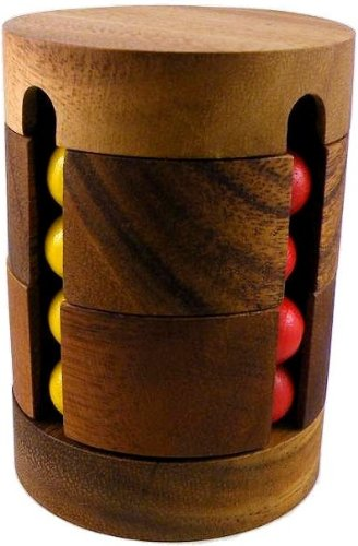 Spin To Win Cylinder Cube Puzzle Wooden Brain Teaser Game
