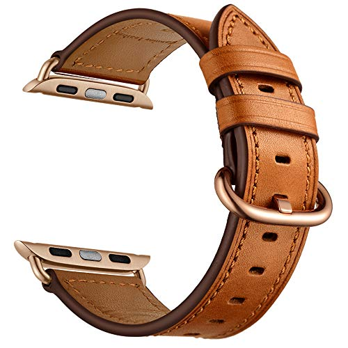 CINORS Leather Band Compatible with Apple iWatch 40mm Women Genuine Leather Brown Bands Wrist Strap with Rose Gold Buckle for Apple Watch Series 4 (Brown Leather Rose Gold Clasp)