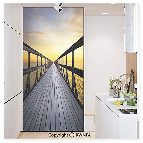 (RWN Film Window Films Privacy Glass Sticker Long Wood Pier Deck by The Sea Disappearing into Sunset Nature Scenery in Twilight Print Static Decorative Heat Control Anti UV 30In by 59.8In,Brown Yellow)