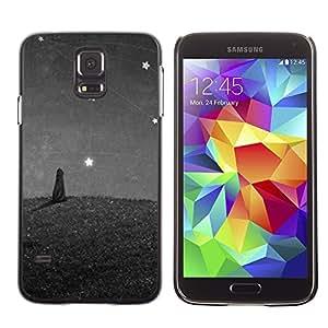 LECELL--Funda protectora / Cubierta / Piel For Samsung Galaxy S5 SM-G900 -- Cat Painting Stars Wonder Grey Gray --