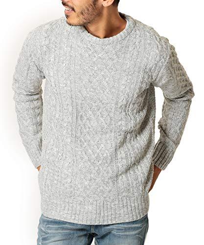 JIGGYS SHOP Mens Casual Aran Knit Cable Stitch Pullover Sweater Crewneck XL A Mix LightGray (Cable Mens Crewneck)