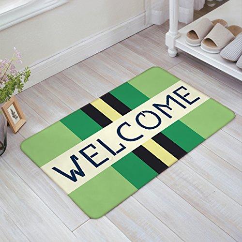 Doormat Welcome Rectangular Color Blocks Geometry Pattern Gray Non Slip Indoor/Outdoor/Front Door/Bathroom Entrance Mats Rugs Carpet by YEHO Art Gallery 20