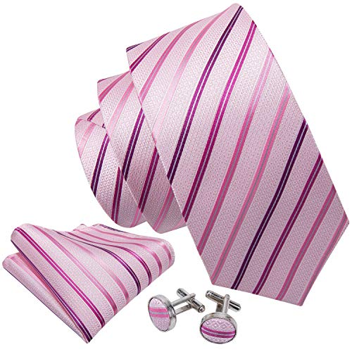 Barry.Wang Pink Tie for Men Set Silk Handkerchief and Cufflinks ()