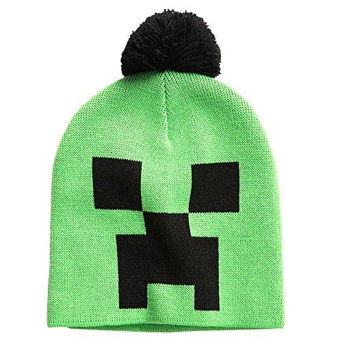 JINX Minecraft Creeper Face Knit Pom Beanie (Green/Black, One Size)