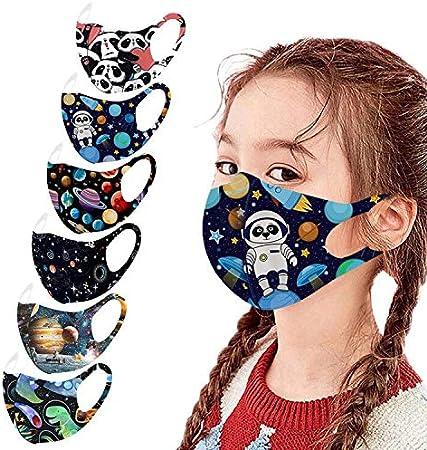 6pcs Niños Ajustable Earloop a Prueba De Viento Reutilizable Lavable Espacio Impreso Más_ca_RAS Faciales Que Cubren El Pañuelo, Mas_ca_Rilla Faciales De Seda De Hielo para Niños