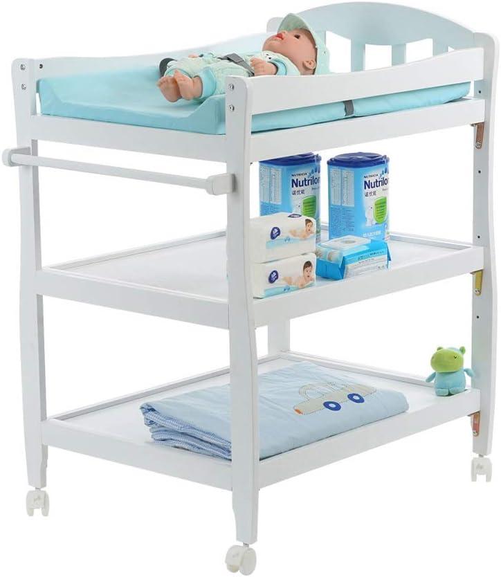 HIZLJJ 楽ドレッシングやおむつの変更4速の高さ調節可能なマッサージ表、ブレーキ新生児ケアステーションとモバイル向けに設計され子供の保育園サイドテーブル (Color : White)