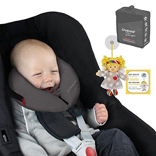 SANDINI SleepFix XS - Schlafkissen/ Nackenstütze für Babys - SICHERHEITSZUBEHÖR Auto/ Fahrrad - Komplett Set anthrazit