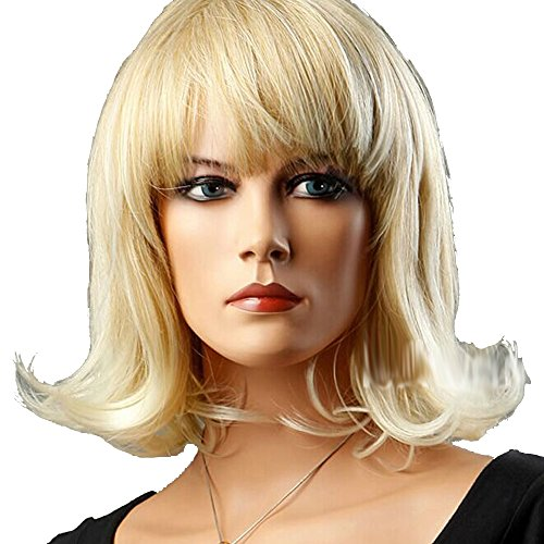 [FCL Healthy Glamour Pear Head Cosplay Hair Blonde Wavy Women Wigs With Bangs +wig Cap] (Adult Pear Costumes)