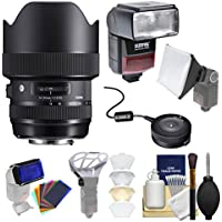Sigma 14-24mm f/2.8 ART DG HSM Zoom Lens (for Canon EOS Cameras) with UBS Dock + Flash + Filters + Cleaning Kit