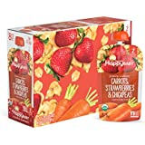 Happy Baby Organic Clearly Crafted Stage 2 Baby Food Carrots Strawberries & Chickpeas, 4 Ounce Pouch (Pack of 16) Resealable Baby Food Pouches, Fruit & Veggie Puree, Organic Non-GMO Gluten Free Kosher