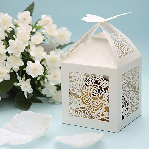 PONATIA 25Pcs/Lot 4''x4'' Laser Cut Pearl Paper Party Wedding Favor Ribbon Candy Boxes Large Size Gift Box for Cupcake (White Rose) (Box Wedding Cake Gift)