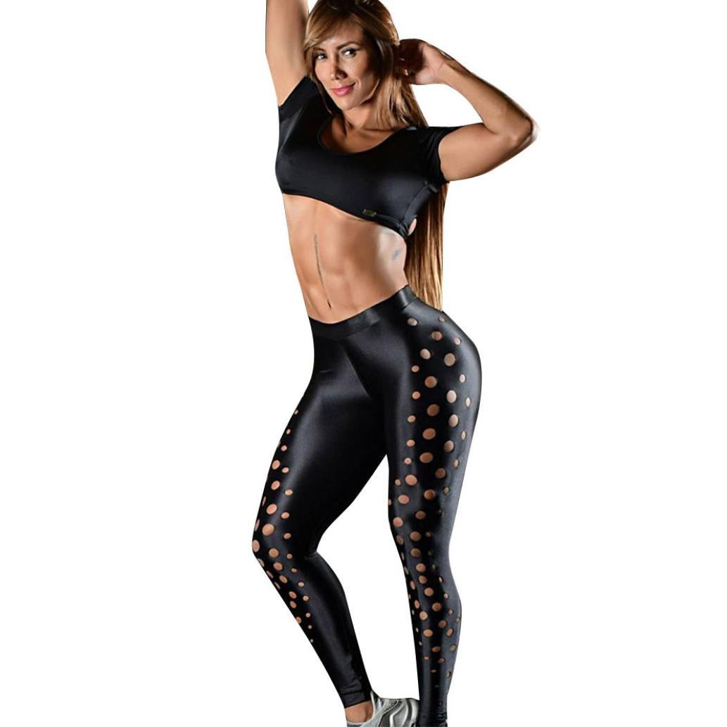 Women's Yoga Pants,Gillberry Skinny Sports Tights Workout Running Leggings Mid-Waist (Black, S)