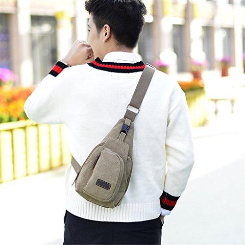 de alta pecho HUAYUN hombro para hombro casual calidad bolso de el caqui de bolso hombro de café de pequeño bandolera Bolsas lona qStSwU