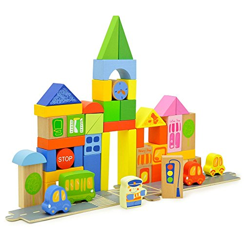 TOP BRIGHT City Wooden Building Blocks Set Toys,55 Blocks in 7 Colors and 10 Shapes Over 2 Years Old