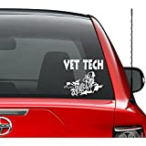 Vet Tech Veterinarian Animal Vinyl Decal Sticker Car Truck Vehicle Bumper Window Wall Decor Helmet Motorcycle and More - Size (7 inch / 18 cm Wide) / (Color Gloss White)