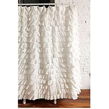 Waterfall Ruffled Fabric Shower Curtain (White)