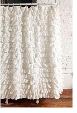 Waterfall Ruffled Fabric Shower Curtain - Ruffle Curtain Shower