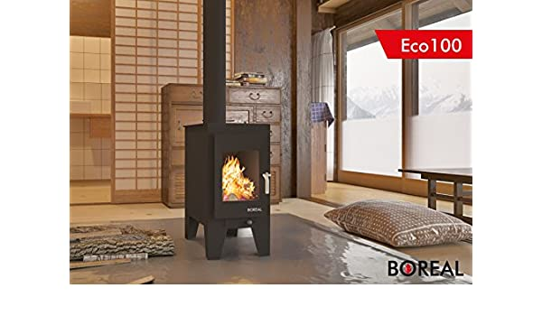 CE17800 ESTUFA DE LEÑÁ COLOR NEGRO 7KW ECO100-1: Amazon.es ...