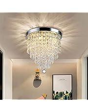 DLLT Modern Cryatal Chandelier Light,Close to Ceiling Light 3 Light/4 Light Fixture for Bedroom, Hallway,