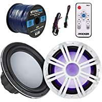 Marine Speaker & Sub Combo - Kicker KMW10 10-Inch RoHS Compliant 2/4-ohms Boat Yacht Subwoofer, Bundle With White LED Woofer Grill + LED Light Remote Controller + Enrock 50 Feet 16 Gauge Speaker Wire