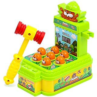SMALL FISH Whack a Mole Game for Toddlers and Kids with Toy Hammer, Pounding and Hammering Toys to Develop Hand Eye Coordination, Fun Gift and Activity for 3 Years Old