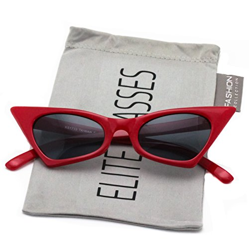 Elite Small Cat Eye Sunglasses For Women High Pointed Tinted Color Lens New (Red / - Cay Eye