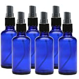 Kaith 2 Oz Glass Spray Bottle with Recipes Guide.Set of 6 Cobalt Blue Fine Mist Atomizer. Empty Containers for Misting Aromatherapy, Essential Oils, Cleaning, Room Sprays. (Blue/W Black Cap)